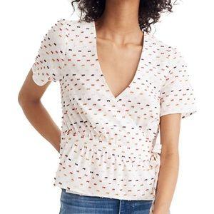 Madewell Tops - Madewell blouse: ruffle hem wrap top in clipdot